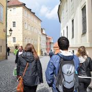 students walking on the street in Czech Republic