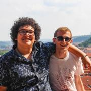 Two students pose for a photo in Prague.