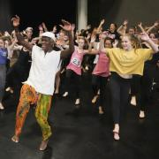 Students and instructors participating in Dance Day