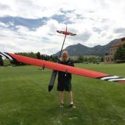 Pilot Dan Hesseliusl with drone aircraft