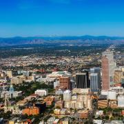 An aerial stock photo of Denver's skyline.