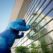 Blue bear sculpture in Denver