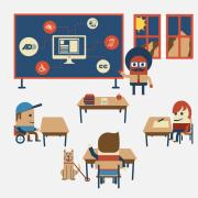 Illustration of diverse learners in the clasroom