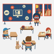 Illustration of classroom embracing diverse learning