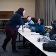"""Kathryn Leslie leads a """"Queering Classrooms, Impacting Climate"""" session."""