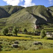 Green, mountainous landscape in Upper Dolpa, Nepal