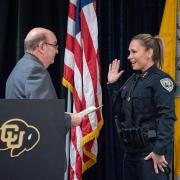 CU Boulder Police Chief Doreen Jokerst takes her oath of service with Chancellor Phil DiStefano during a swearing-in ceremony in 2018