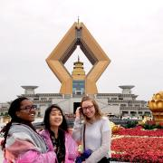 Students studying abroad in China pose for photo