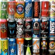 Many types of energy drinks stacked in cans