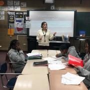 Esmeralda Castillo-Cobian teaching in classroom