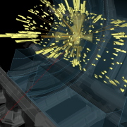 A rendering of a high-energy collision event recorded by the ATLAS Experiment in July 2018.