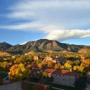 CU Boulder campus during fall