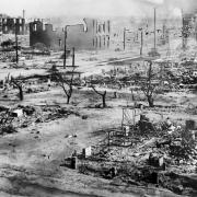 The aftermath of the Tulsa Race Massacre, during which mobs of white residents attacked Black residents and businesses of the Greenwood District in June 1921.