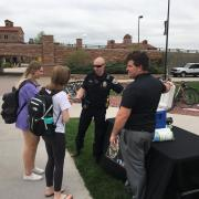 CU Police visit with folks on campus.