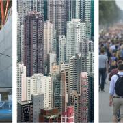 A composite of city scenes and people living in cities