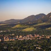 An overhead view of the CU Boulder campus