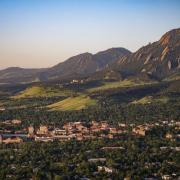 Aerial view of CU and city of Boulder