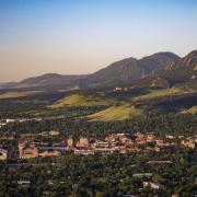CU Boulder campus aerial shot.