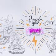 """Find your spark"" entrepreneurial space mural"