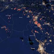 A satellite illustration of oil flares in Syria.