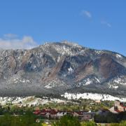The flatirons with CU Boulder campus in foreground