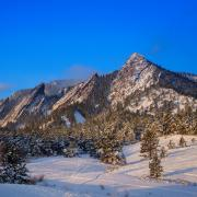 The Boulder Flatirons in winter