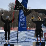 Stef Fleckenstein, left, and Cassidy Gray, right, on the podium after the NCAA women's grand slalom championship race Wednesday, March 11, 2021. (Photo via CU Athletics)