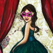 Painting of a woman in a green dress with a sequined mask