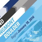 Get connected! FLEX express service between: Fort Collins, Loveland, Longmont, Boulder. Begins January 18, 2016. ridetransfort.com/FLEX