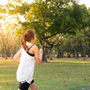 Woman on a jog outside