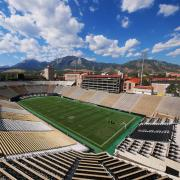 An empty Folsom Field stadium on the CU Boulder campus.