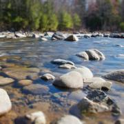 riverbed with rocks, stones