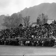 A historical photo of Gamble Field at CU Boulder