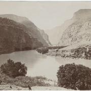 Antique, sepia-tone photo of Colorado River