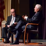 Former Secretary of Defense and CIA Director Robert Gates, right, has a discussion with Chancellor Philip DiStefano at Macky Auditorium.