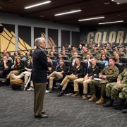 Retired Gen. George W. Casey Jr. speaks to ROTC and leadership students at CU Boulder