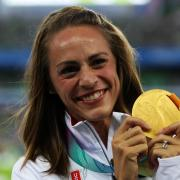 Jenny Simpson at the 2011 IAFF World Championships after winning a gold medal