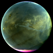 MAVEN's Imaging UltraViolet Spectrograph obtained this image of Mars on July 13, 2016, when the planet appeared nearly full when viewed from the highest altitudes in the MAVEN orbit. The ultraviolet colors of the planet have been rendered in false color, to show what we would see with ultraviolet-sensitive eyes. The ultraviolet (UV) view gives several new perspectives on Mars.