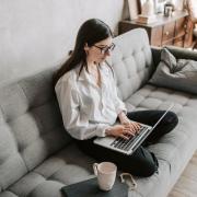 graduate student working on laptop