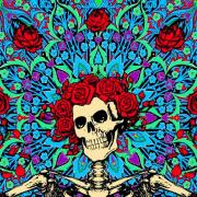 Grateful Dead skeleton with colorful kaleidoscope background