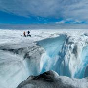 Scientists on a Greenland ice sheet (Photo by Jason Gulley, July 2020)