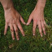 two hands pressing down on grass and dirt