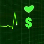 An EKG graph with a heart and a dollar sign.