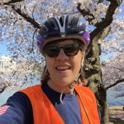Heidi VanGenderen with cherry blossoms, Thomas Jefferson memorial