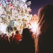 Person in crowd during holiday event
