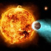 Artist's depiction of a hot Jupiter orbiting its home star