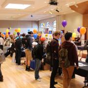 Students at the housing fair