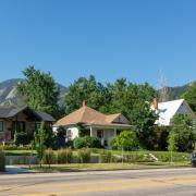 Houses in Boulder with Flatirons in the background