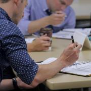 Employees in a professional development workshop