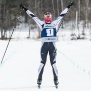 Junior Petra Hyncicova celebrates win on the slopes